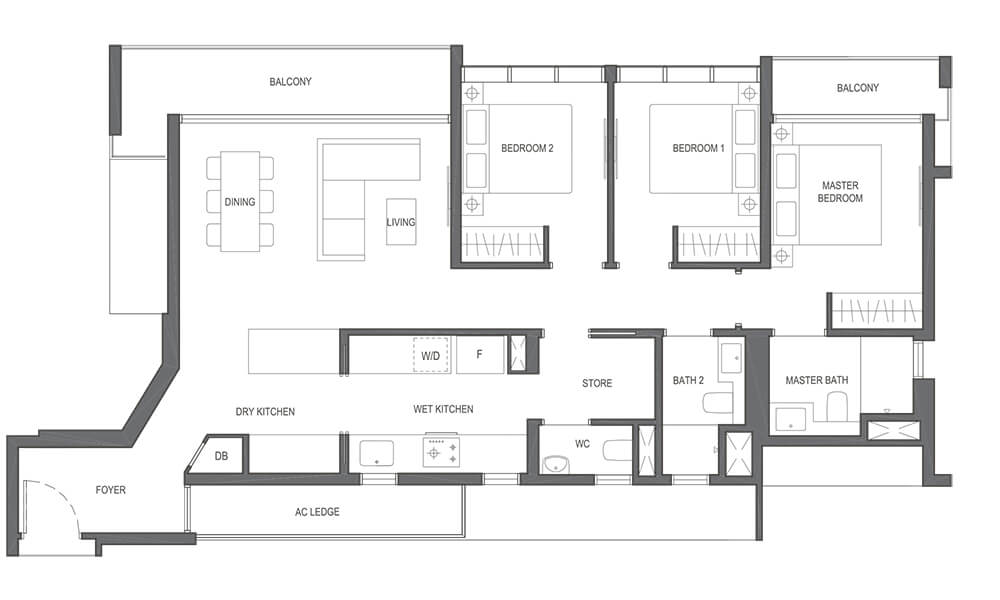 3 Bedroom Premium Type C2a 1,227sqft